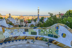 Park Guell in Barcelona, Spain. The stunningly vibrant colours and twisting shapes of the Spanish architect Gaudi's famous Parc Guell in Barcelona, Spain royalty free stock photo
