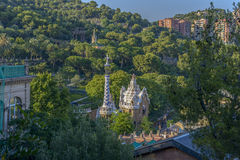 Park Guell in Barcelona, Spain. The stunningly vibrant colours and twisting shapes of the Spanish architect Gaudi's famous Parc Guell in Barcelona, Spain stock photography