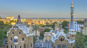 Park Guell in Barcelona, Spain. The stunningly vibrant colours and twisting shapes of the Spanish architect Gaudi's famous Parc Guell in Barcelona, Spain royalty free stock photography