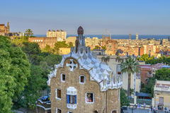 Park Guell in Barcelona, Spain. The stunningly vibrant colours and twisting shapes of the Spanish architect Gaudi's famous Parc Guell in Barcelona, Spain royalty free stock images