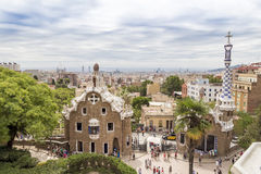 Park Guell, Barcelona. Park Guell in Barcelona of Spain, summer Stock Photo