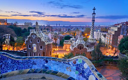 Park Guell In Barcelona Spain at Sunrise Royalty Free Stock Photos