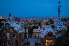 Park Guell in Barcelona, Spain. Sunset in Park Guell, Barcelona with city in background. Image taken at blue hour royalty free stock photography