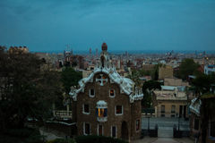 Park Guell, Barcelona, Spain. Sunset in Park Guell, Barcelona with city in background. Image taken at blue hour stock photography