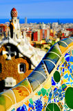 Park Guell in Barcelona, Spain. View of the Park Guell  in Barcelona, Spain, with the skyline of the city in the background Royalty Free Stock Image