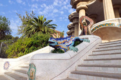 Park Guell in Barcelona, Spanje. Stock Afbeelding