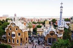 Park Guell in Barcelona, Spanje Het werd gebouwd in 1900-1914 Stock Afbeelding
