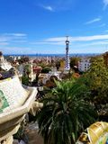 Park Guell Barcelona - stunning views!. Park Güell, intended to serve Güell's private city, became all of Barcelona royalty free stock image