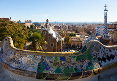 Park Guell in Barcelona. Park Guell in winter. Barcelona stock image