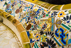 Park Guell bench, by Gaudi, Barcelona Royalty Free Stock Photography