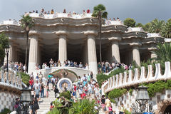 Park Guell from bottom point. Stock Photos