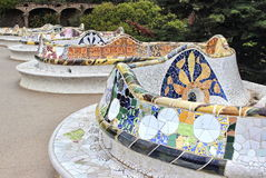 Barcelona Spain mosaic in the Park Guell of Antoni Gaudi stock images