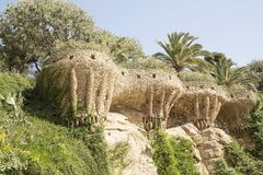 Park Guell. Created by Antonio Gaudi in Barcelona royalty free stock photography