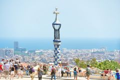 Park Guell with crowd of people Royalty Free Stock Photo