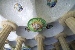 Park Guell. Dome in the Park Guell, Barcelona, Spain. Designed by Antonio Gaudi, is one of the most visited places in the city stock images