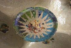 Park Guell door Antonio Gaudi wordt ontworpen dat Royalty-vrije Stock Foto's