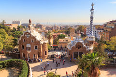 Park Guell entrance buildings in Barcelona Stock Photo