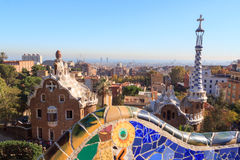 Park Guell entrance buildings and mosaic bench in Barcelona Stock Photography