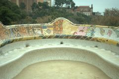 Park Guell. Famous bench in the park one of the architects of Spain royalty free stock photo