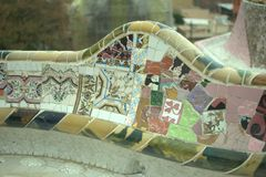 Park Guell. The famous bench out of the park in Spain, mosaic stock photography