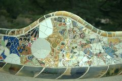Park Guell. The famous bench out of the park in Spain, mosaic royalty free stock photography