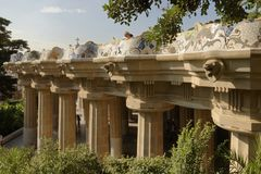 Park Guell garden in Barcelona, Spain. Royalty Free Stock Photography