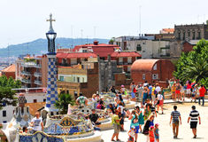 Park Guell i Barcelona, Spanien Arkivbild
