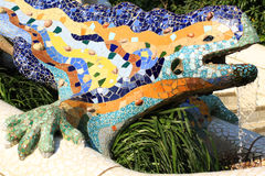 Park Guell Lizard. A detail of Gaudi Park Guell in Barcelona. Park Güell is a garden complex with architectural elements situated on the hill of el Carmel in stock image