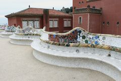 Park Guell - long mosaic bench and main terrace Royalty Free Stock Photography