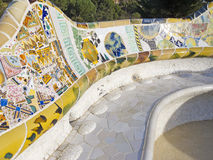 Park Guell. Mosaic of Park Guell designed by Antonio Gaudi in Barcelona. Part of the UNESCO World Heritage Site Works of Antoni Gaudi Royalty Free Stock Image