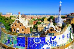 Park Guell with mosaic wall, Barcelona, Spain Royalty Free Stock Photos