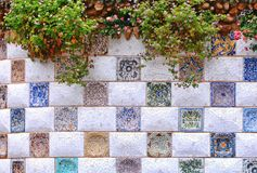 Barcelona Spain: mosaic wall in Park Guell Royalty Free Stock Images