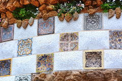 Park Guell mosaic wall Stock Image
