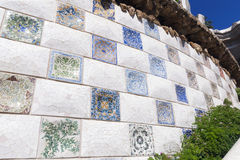 Park Guell mosaic. Mosaic wall at the entrance to famous Parc Guell in Barcelona royalty free stock photos