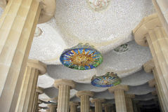 Park Guell mosaics. Detail of the mosaics in Park Guell. Barcelona, Spain royalty free stock images