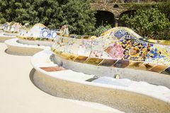 Park Guell. Created by Antonio Gaudi in Barcelona stock image