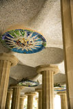 Park Guell pillars with mosaic Royalty Free Stock Photos