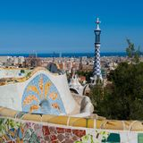 Main Terrace in the Park guell, Barcelona, Spain stock photography