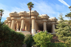 Park Guell Sala Hipostila columns and main terrace in Barcelona Royalty Free Stock Photos