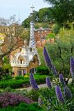 Fairytale scenery in Park Guell, Barcelona. Park Guell scenery, picturesque fairytale house at the entrance, Barcelona, Spain stock photography
