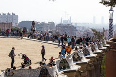 Park guell. Spring in Park Guell full of visitors royalty free stock images