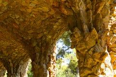 Park Guell. Stone arch gallery Antonio Gaudi Royalty Free Stock Photo