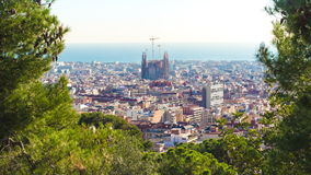 Park guell sun light sagrada familia panorama 4k time lapse spain. Spain park guell sun light sagrada familia panorama 4k time lapse stock video footage