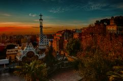 Park Guell Sunrise royalty free stock photos