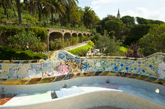 Park Guell Tiles - Barcelona - Spain royalty free stock photo