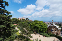Park Guell with tourists Royalty Free Stock Photos