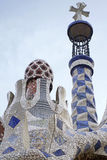 Park Guell tower. Tower of the Park Guell entrance building stock photos