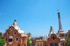 Park Guell in the upper part of Barcelona, created by Antonio Gaudi. BARCELONA, SPAIN -MAY 18, 2018: Park Guell in the upper part of Barcelona, created by royalty free stock photography