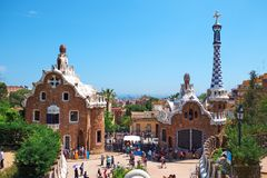 Park Guell in the upper part of Barcelona, created by Antonio Gaudi. BARCELONA, SPAIN -MAY 18, 2018: Park Guell in the upper part of Barcelona, created by royalty free stock photo