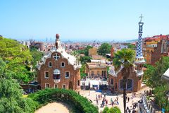 Park Guell in the upper part of Barcelona, created by Antonio Gaudi. BARCELONA, SPAIN -MAY 18, 2018: Park Guell in the upper part of Barcelona, created by stock photo